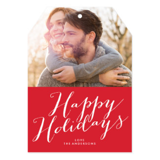 Happy Holidays Beautiful Lettering Tag Photo Card