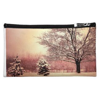Happy Holidays beautiful winter landscape Makeup Bag