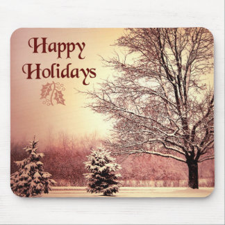 Happy Holidays beautiful winter landscape Mouse Pad