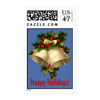 Happy Holidays Bells and Holly Postage Stamps
