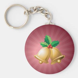 Happy Holidays Bells Basic Round Button Keychain