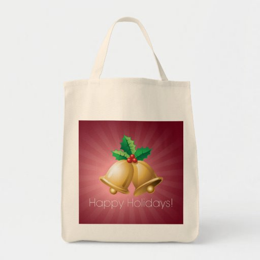 Happy Holidays Bells Canvas Bag