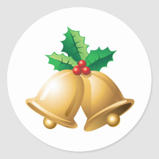 Happy Holidays Bells Classic Round Sticker