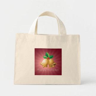 Happy Holidays Bells Mini Tote Bag
