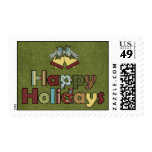Happy Holidays Bells Postage Stamp