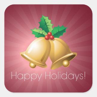 Happy Holidays Bells Square Sticker