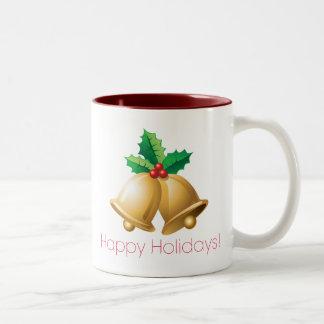 Happy Holidays Bells Two-Tone Coffee Mug