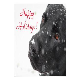 Happy Holidays Black Lab Magnetic Card
