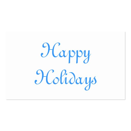Happy Holidays. Blue and White. Festive. Double-Sided Standard Business Cards (Pack Of 100)