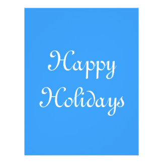 Happy Holidays Blue and White Festive Personalized Flyer