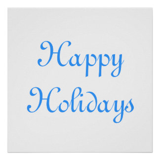 Happy Holidays Blue and White Festive Print