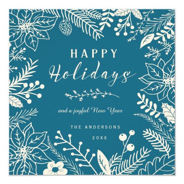 HAPPY HOLIDAYS BLUE BOTANICAL SQUARE PHOTO COLLAGE CARD