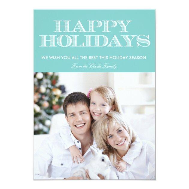 Happy Holidays Blue Chevron Photo Card