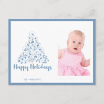 Happy Holidays Blue Christmas Tree Holiday Postcard