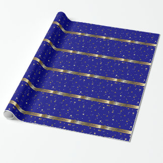 Happy Holidays Blue Gold Wrapping Paper