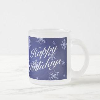 Happy Holidays Blue Holiday Glass Mug Set