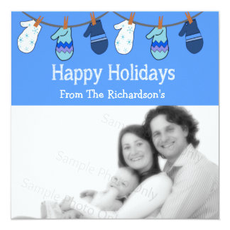 """Happy Holidays Blue Mittens Clothesline Photo Card 5.25"""" Square Invitation Card"""