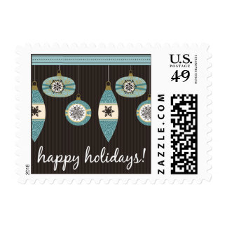 Happy Holidays Blue Ornaments Chocolate Stripes Postage