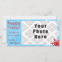 Happy Holidays Blue/Red Snowflake theme Holiday Card