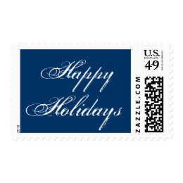 Happy Holidays Blue Script Christmas Postage Stamp