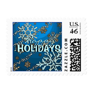 Happy Holidays blue snowflake mosaic stamps