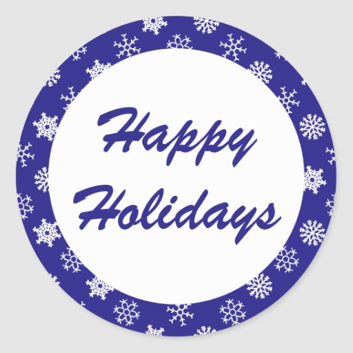 Happy Holidays Blue Snowflake Pattern Stickers