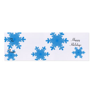 Happy Holidays, blue snowflakes Double-Sided Mini Business Cards (Pack Of 20)