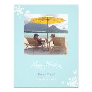 Happy Holidays Blue Snowflakes Card