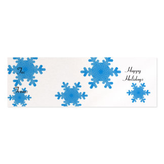 Happy Holidays, blue snowflakes Mini Business Card