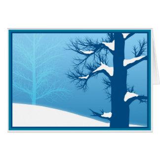 Happy Holidays Blue Snowy Tree Card