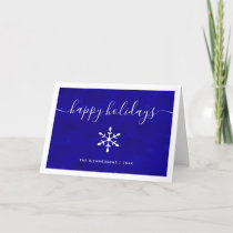 Happy Holidays | Blue Watercolor with Script Holiday Card
