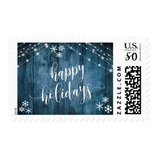 Happy Holidays Blue Wood w/ Snowflakes & Lights Postage