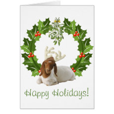 Happy Holidays Boer Goat in Wreath Card