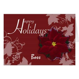 Happy Holidays Boss  card Christmas Poinsettia