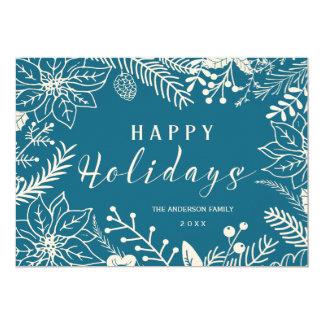 HAPPY HOLIDAYS BOTANICAL BLUE AND WHITE PHOTO CARD