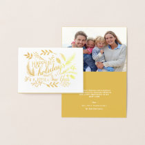 Happy Holidays Botanical Branches Word Art Foil Foil Card