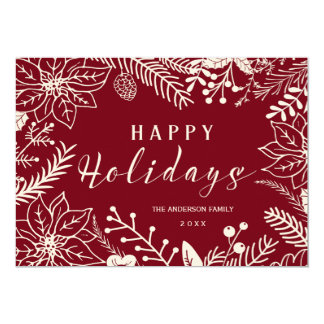 HAPPY HOLIDAYS BOTANICAL RED AND WHITE PHOTO CARD