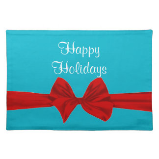 Happy Holidays Bow  Placemats Cloth Placemat