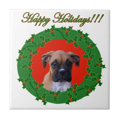 Happy Holidays Boxer  dog Ceramic Tile