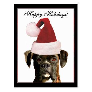 Happy Holidays Boxer dog postcard