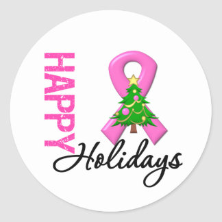 Happy Holidays Breast Cancer Awareness Classic Round Sticker