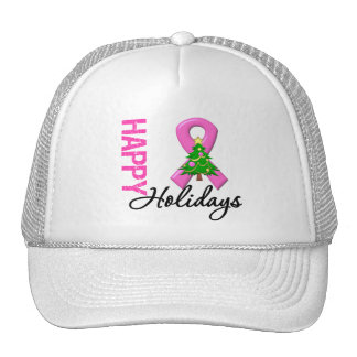 Happy Holidays Breast Cancer Awareness Trucker Hat