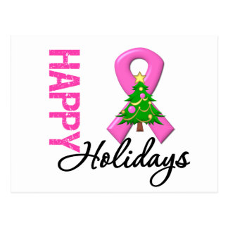 Happy Holidays Breast Cancer Awareness Postcard