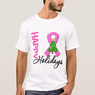 Happy Holidays Breast Cancer Awareness T-Shirt
