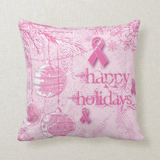 Happy Holidays Breast Cancer Ornament Pillow