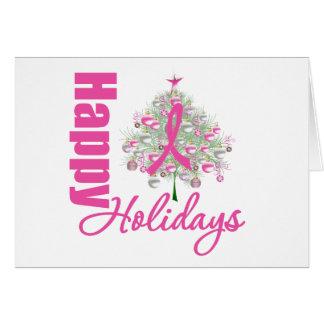 Happy Holidays Breast Cancer Pink Ribbon Card