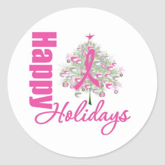 Happy Holidays Breast Cancer Pink Ribbon Classic Round Sticker