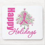 Happy Holidays Breast Cancer Pink Ribbon Mouse Pad