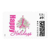 Happy Holidays Breast Cancer Pink Ribbon Stamp