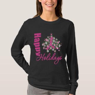 Happy Holidays Breast Cancer Pink Ribbon T-Shirt